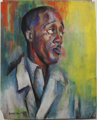 "Norman Lewis, ""Self-Portrait,"" 1939. Wax pastel and gouache on paper."