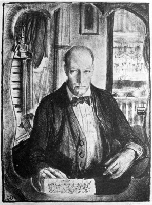 "George Bellows, ""Self-Portrait,"" 1921. Lithograph., 10 1/2 x 7 7/8 inches."