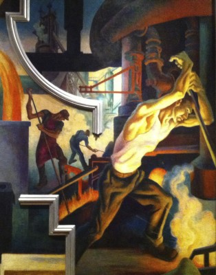 "Detail of ""Steel,"" from ""America Today."" Jackson Pollock, Benton's student at the time,  reportedly posed for the foreground figure of the steelworker."