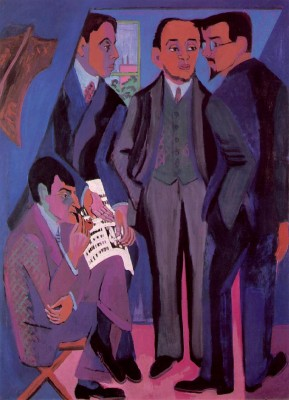 "Ernst Ludwig Kirchner, ""A Group of Artists (Die Brücke),"" 1926-27."