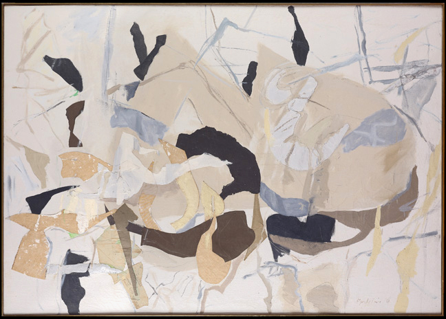 "Perle Fine, ""Billet Doux,"" 1958. Mixed media on canvas, 48 x 68 inches."