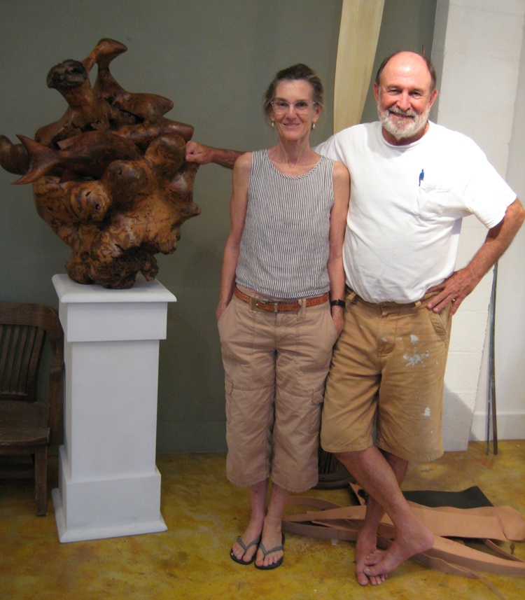 "Helen and Ben Harrison in Helen's studio with her sculpture, ""Coral Head."" See more of her work at harrison-gallery.com."