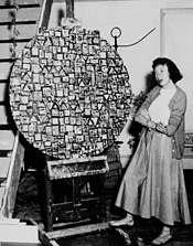 "Lee Krasner with an early version of ""Stop and Go,"" ca. 1949."
