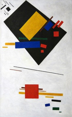"Kazimir Malevich, Painterly Masses in Motion, 1915. Oil on canvas, 39 15/16 x 24 7/16"" Stedelijk Museum, Amsterdam"
