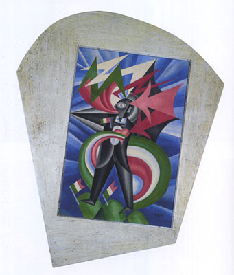 "Fortunato Depero, ""Stormy Patriotic Marinetti: Psychological Portrait,"" 1924. Oil on canvas, in artist's frame."