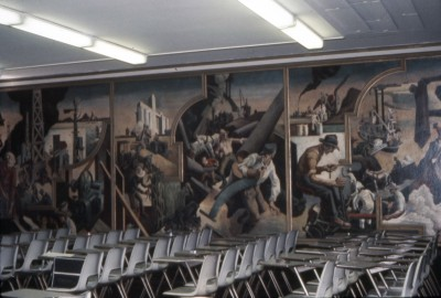 """Changing West,"" ""Midwest,"" and part of ""Deep South,"" sections of Benton's mural at the New School in 1971, when the boardroom was used as a classroom."