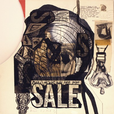 """Untitled (SALE, Ceci n'est pas un pipe),"" 1974/1986/1991. Acrylic, ink and collage, 15 x 15 inches. © The Ray Johnson Estate, courtesy Richard L. Feigen & Co., New York."