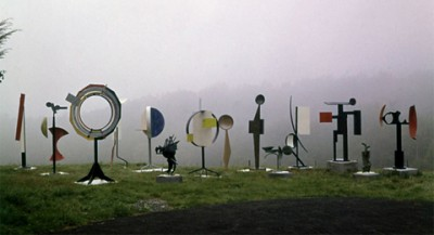 David Smith's photo of his sculptures in the field at Bolton Landing, early 1960s.