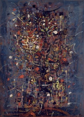 """Fireworks,"" 1950. Gouache on paper mounted on board."