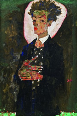 """Self-Portrait with Peacock Waistcoat, Standing,"" 1911. Gouache, watercolor and crayon."