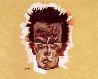 """Self-Portrait,"" 1910. Pencil, watercolor and gouache."