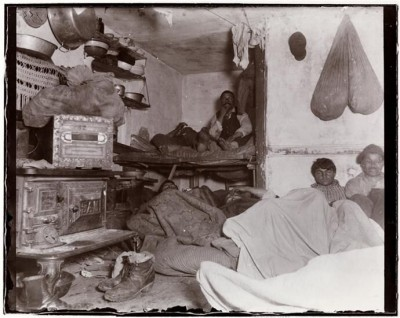 "Jacob A. Riis, ""Five Cents A Spot,"" Lodgers in a Bayard Street tenement, 1889."