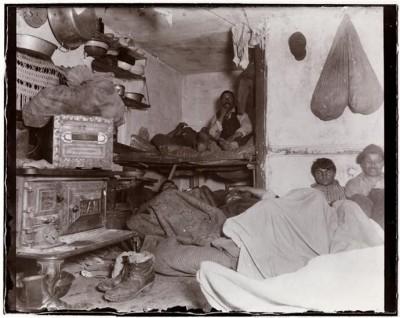 "Jacob A. Riis, ""Five Cents A Spot,"" Lodgers in a Bayard Street tenement, 1889."