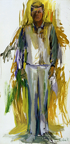 John F. Kennedy #21, 1963. Oil on canvas, 117 ¼ x 59 inches. Collection of Michael and Susan Luyckx.