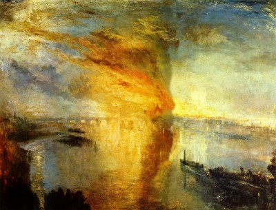"J.M.W. Turner, ""the Burning of the Houses of Lords and Commons, October 16, 1934."" Oil on canvas. Cleveland Museum of Art."