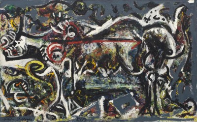 """The She-Wolf,"" 1943; Oil, gouache, and plaster on canvas, 41 7/8 x 67 ins. The Museum of Modern Art. Purchaces2011 The Pollock-Krasner Foundation/Artists Right Society (ARS), New York."