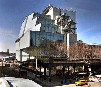The new Whitney, designed by architect Renzo Piano, is adjacent to the southern terminus of the High Line (foreground).
