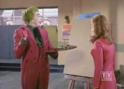 "A still from ""Pop Goes the Joker,"" in which the Joker's painting is so abstract it's invisible."