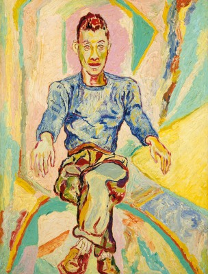 "Beauford Delaney, ""James Baldwin,"" ca. 1955. Oil on canvas board, 23 ½ x 17 ¾ inches."