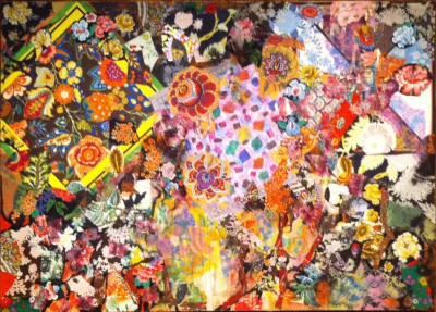 """Beauty of Summer,"" 1973-74. Acrylic and fabric on canvas, 50 x 70 inches."