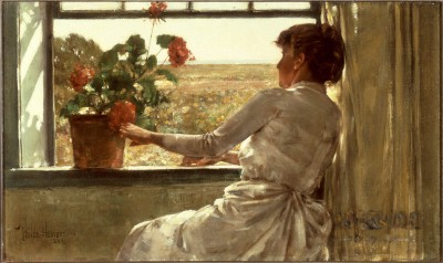 "Frederick Childe Hassam, ""Summer Evening,"" 1886. Oil on canvas, 12 1/8 x 20 3/8 in. Florence Griswold Museum."