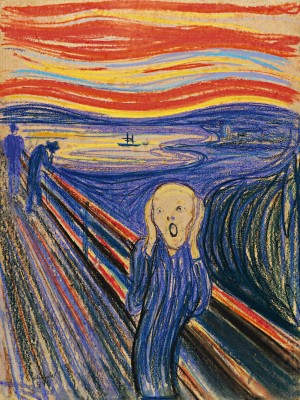 Edvard Munch (1863-1944), The Scream, 1895. Pastel on board, 31 x 23 ¼ inches. Private collection.