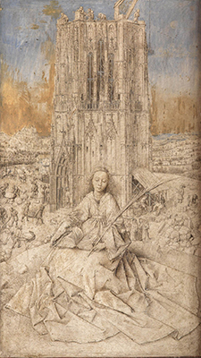 Jan van Eyck (ca. 1390–1441) Saint Barbara?, 1437. ?Metalpoint, brush drawing, and oil on wood, 16 3?8 × 11 × 2 3?8 in. Koninklijk Museum voor Schone Kunsten, Antwerp.