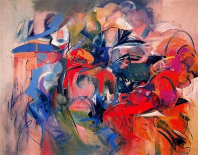 """Fanfare,"" 1958. Oil on canvas, 75 x 96 inches."